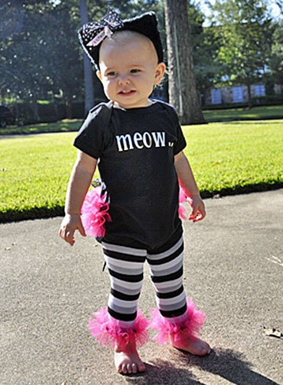 Little Black Kitty MEOW - Ruffled Bunny Buns 1sy - So Cute for baby - Perfect for Fall Photos - Halloween Costume