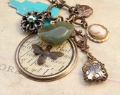 Phoebe - Reclaimed Vintage Charm Necklace - Luckie no.7 - Found Objects