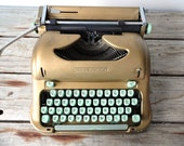Script / Cursive Keys - Swiss Portable Gold Vintage Hermes 3000 Typewriter - Works Beautifully