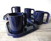 Set of 4 Heller Style Navy Blue Stacking Plates and Mugs