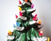 Large Ceramic Light Up Christmas Tree with Snow