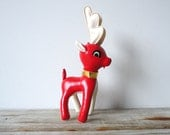 Mid Century Red Stuffed Deer