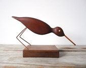 Modernist Teak Carved Wood Bird Sculpture
