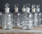 Antique Glass Chemistry Bottle.  Embossed Acid Acetic