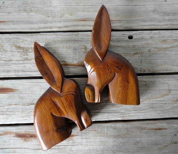 Modern Carved Wood Donkey Bookends
