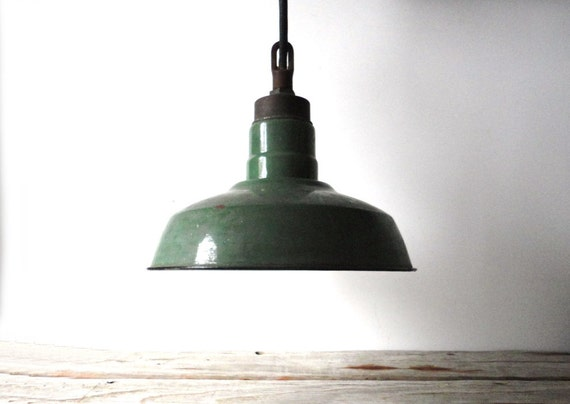 Industrial Hanging Light. Green Porcelain Shade. Works Great