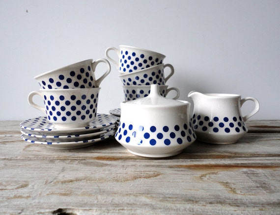Quirky Polka Dot Tea Set. Blue and White Japanese Ironstone