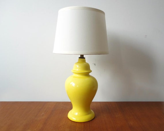 Ceramic table lamp etsy bright yellow ceramic table lamp