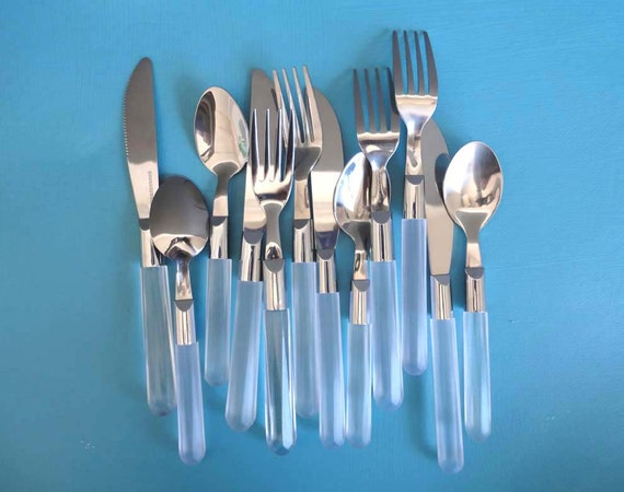 Stainless Steel  & Lucite Like Flatware Set.  Set of 4