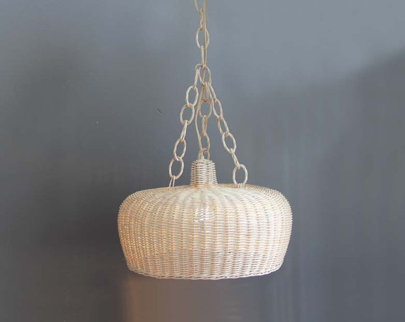 Danish Modern Rattan Pendant Hanging Light