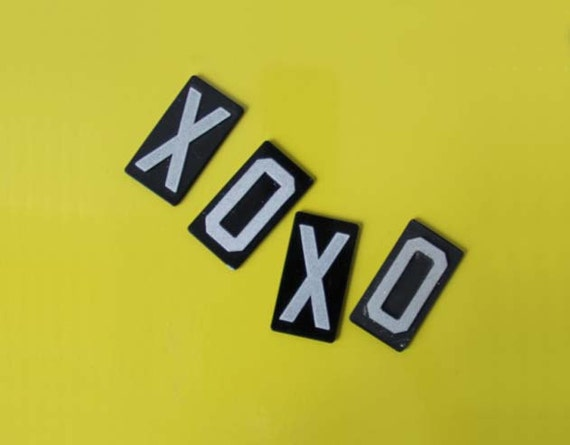 XOXO Magnets.  Repurposed Sign Letters