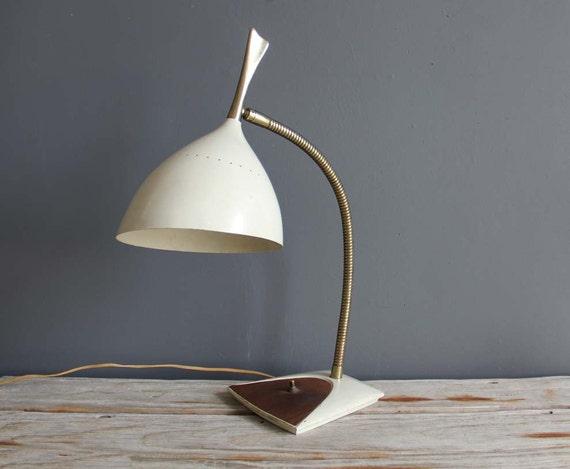Large Eames Era White Metal Gooseneck Desk Lamp
