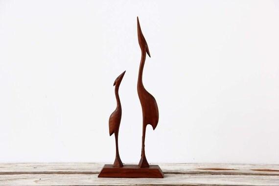 Modern Teak Carved Wood Bird Figures