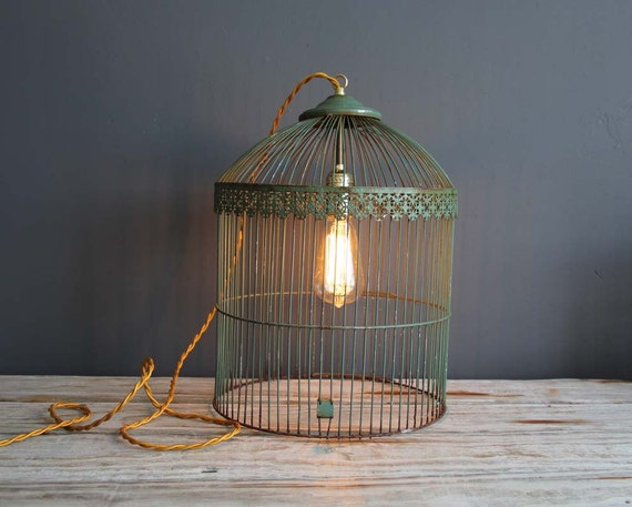 Antique Green Metal Birdcage Hanging Light with Fabric Cord