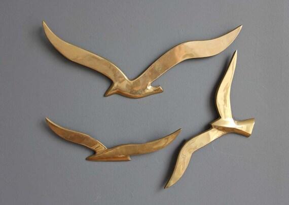 Flock of Modern Brass Birds Wall Hanging