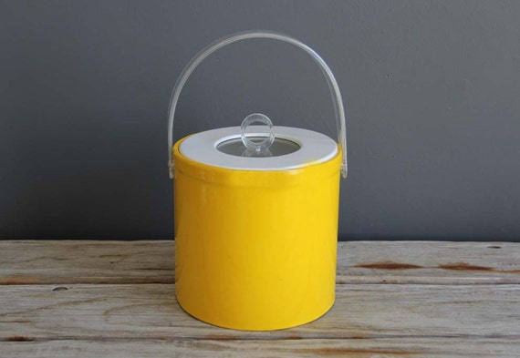 Modern Yellow Ice Bucket with Lucite Handles