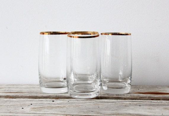 Set of 4 Gold Rimmed Highball Glasses