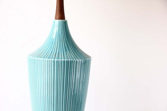 r e s e r v e d Aqua Ceramic & Teak Table Lamp