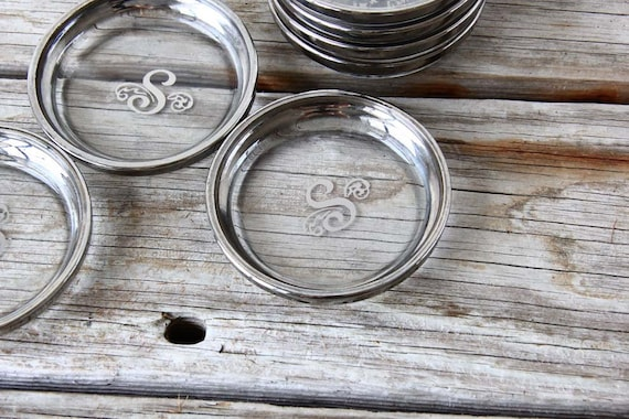 """Set of Monogram """"S"""" Silver Rimmed Coasters.  Beautiful Gift"""