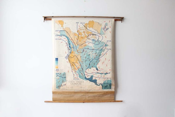 Unique 1950s Pull Down North America Climate Map with Wall Mount
