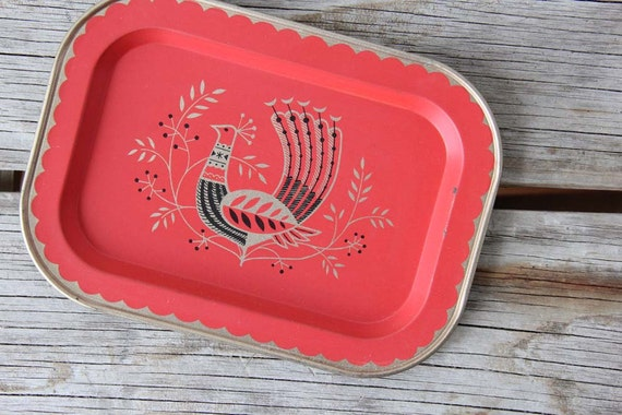 Small Scandinavian Red Peacock Tray