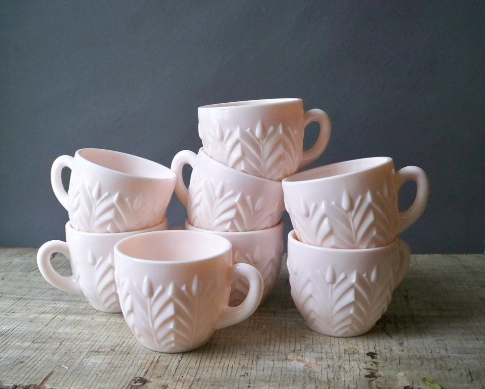 Glass Punch Bowl 7 Pink Milk Glass Punch Cups 1950s