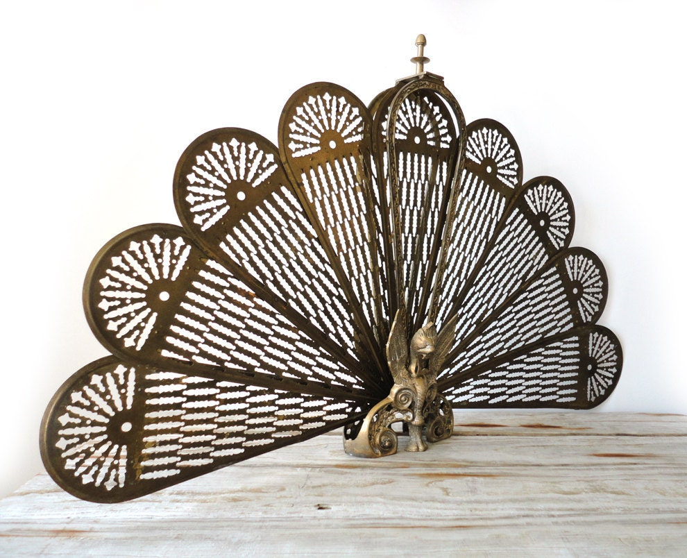 ornate brass peacock fireplace screen hollywood regency