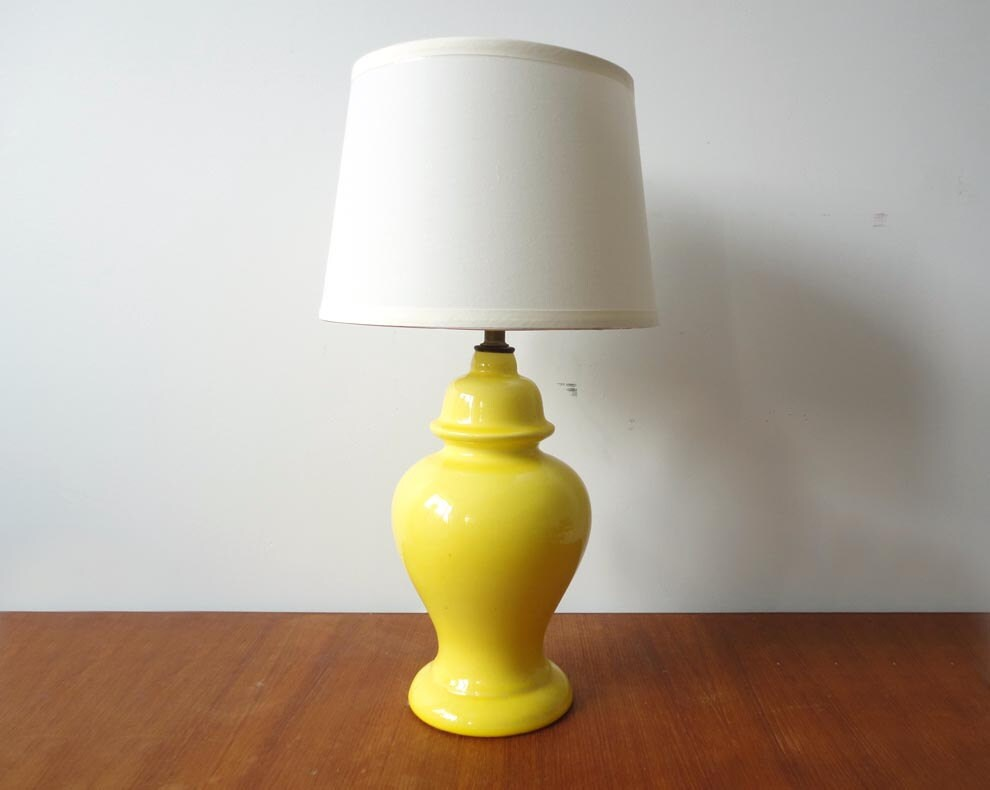 Bright Yellow Ceramic Table Lamp