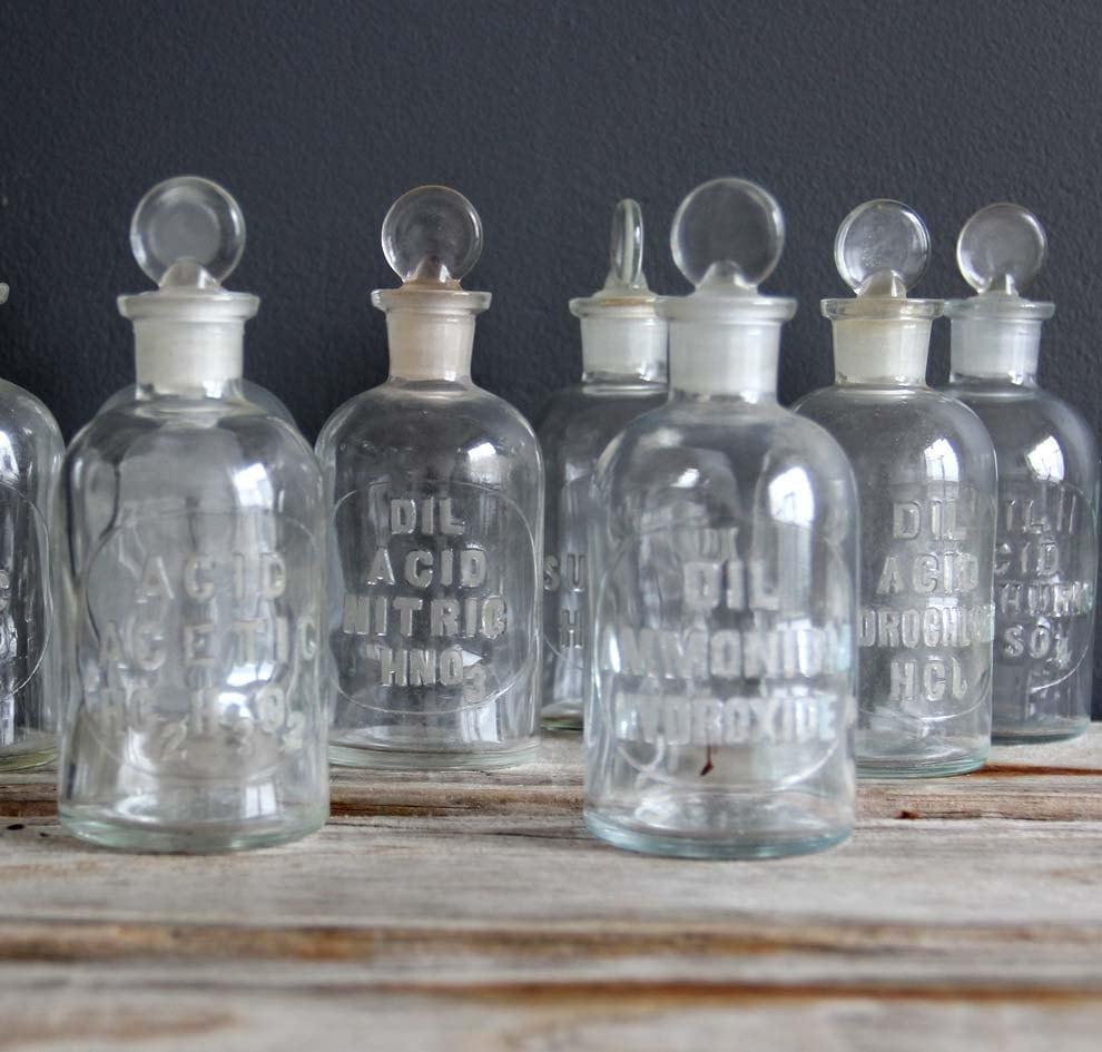 antique glass chemistry bottle embossed acid acetic. Black Bedroom Furniture Sets. Home Design Ideas