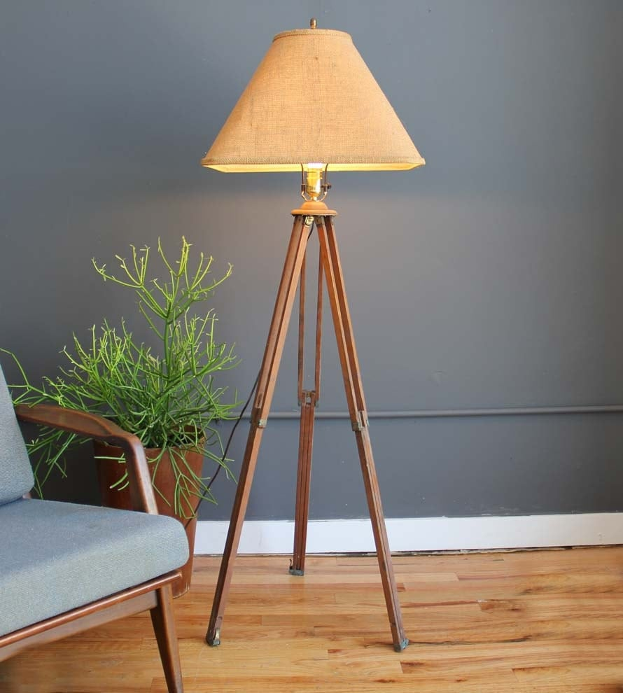 Industrial surveyor tripod floor lamp shade for Surveyors floor lamp wood