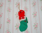 Vintage Puppy in Stocking Ornament
