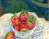Strawberries in a Cup Note Card