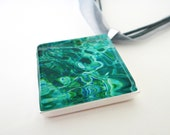 Photo pendant necklace - glass tile -  AQUEOUS Water Green Black Blue - Sterling Silver with your choice of chain/ribbon/cord