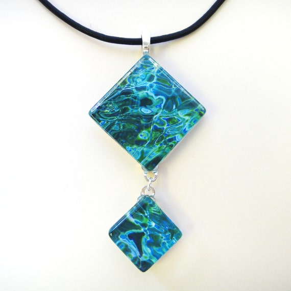 Photo pendant - photo necklace - AQUEOUS - photo double glass tile pendant necklace  - with your choice of chain/ribbon/cord