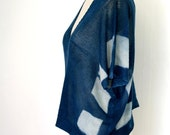 SAMPLE SALE- indigo dyed, cashmere & wool knit top- supports animal rescue