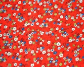 Vintage red Daisies fabric
