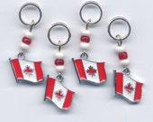Canada Flag Enameled Stitch Markers Set of 4 /SM38