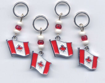 Canada Flag Knitting Stitch Markers nameled Canadian Canuck Set of 4 /SM38