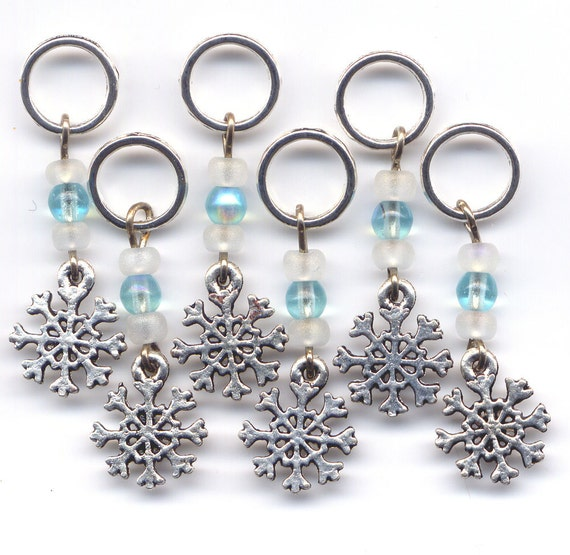 Snowflake Stitch Markers No-snag Snowflakes Crystal Frosted Set of 8 /SM06