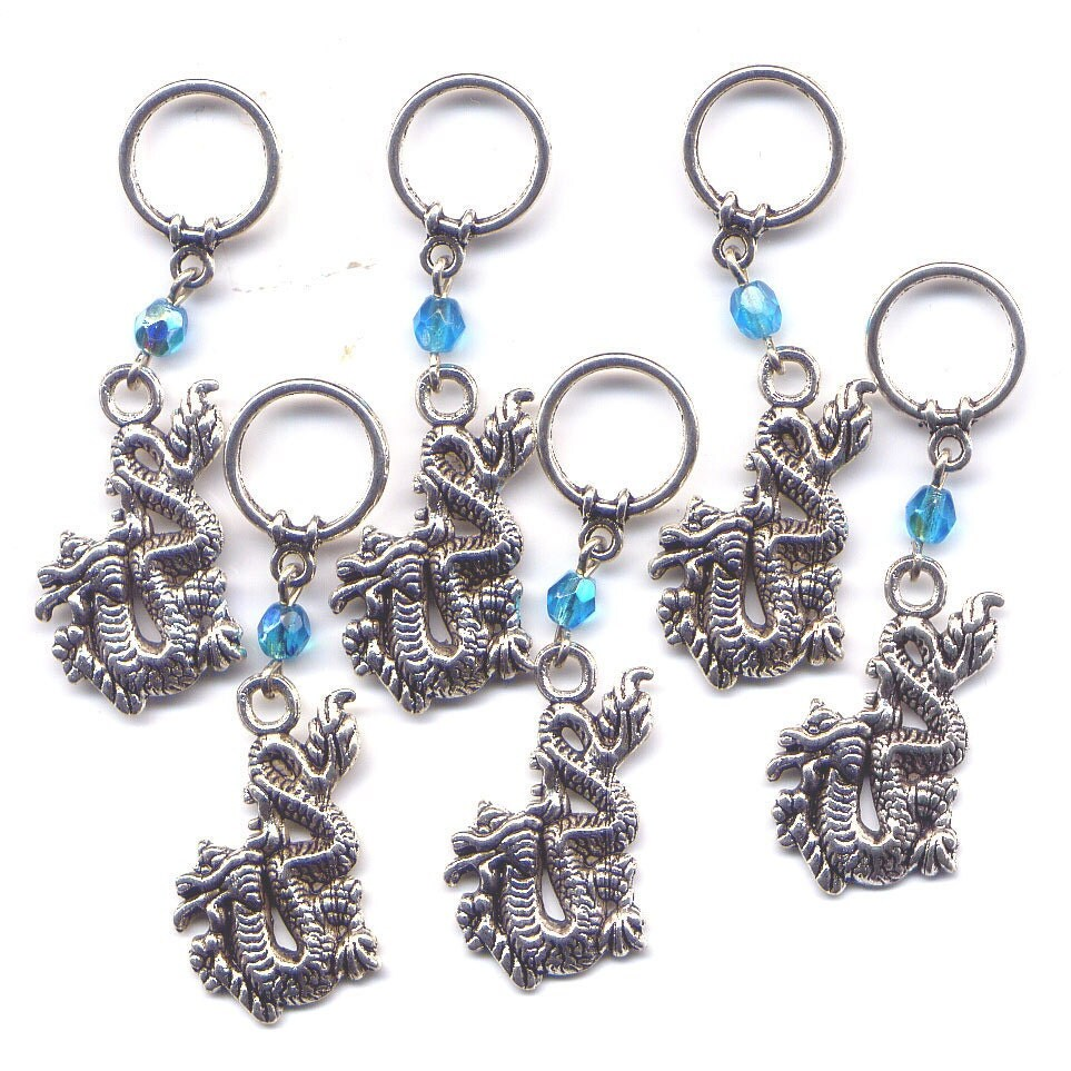 Knitting Stitch Marker Rings : Dragon Stitch Markers BIG Rings Large Silver Dragons Set of 6