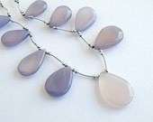 AAA Pale Lilac Lavender Chalcedony Gemstone, Smooth 3-D Drop Pear Briolette, Large, Focal 22-24mm, 1/2 strand, Set of 4, last lot