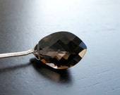 Smoky Quartz Gemstone Briolette Faceted Marquis Drop Top Drilled Large 14mm Focal