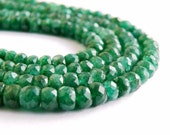 Emerald Beryl Rondelle Gemstone Rich Green Faceted Rondel 4 to 4.5mm Set of 15 beads