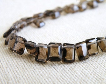 Smoky Quartz Gemstone Briolette Chocolate Brown Fancy Faceted Rectangle Step Cut Drop Top Drilled 7mm 10 beads