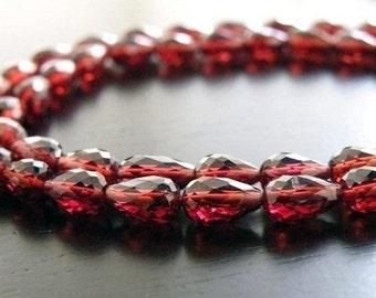 Mozambique Garnet Briolette Faceted 3D TearDrop Center Drilled 7 to 8mm 23 beads 1/2 Strand