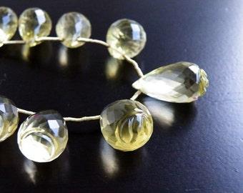 Lemon Quartz Gemstone Faceted Briolette Fancy Carved teardrop 15 to 15.5mm 4 beads