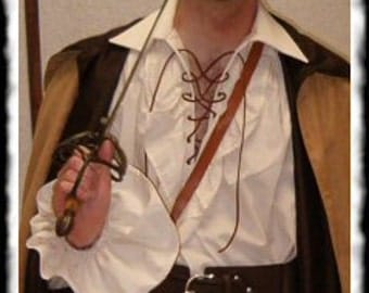 Mens Renaissance Medieval Ruffle Pirate Poet Shirt in OFF WHITE- You Choose Size