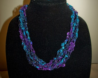 Adjustable Purple/Teal/Silver ladder trellis ribbon necklace