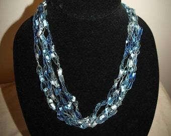 Adjustable Blue Ocean Ladder trellis ribbon necklace