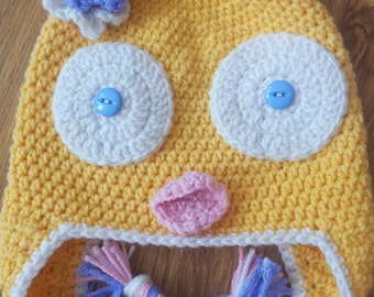 Yellow Easter baby chick earflap hat 1-4 year old